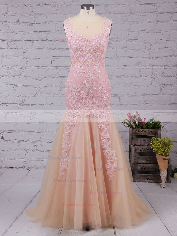 Trumpet/Mermaid V-neck Tulle Floor-length Appliques Lace Prom Dresses #Favs020102421