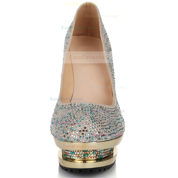 Women's Multi-color Suede Pumps with Crystal/Crystal Heel