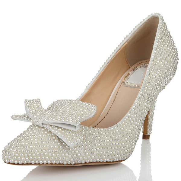 Women's White Patent Leather Pumps with Bowknot/Pearl #Favs03030637