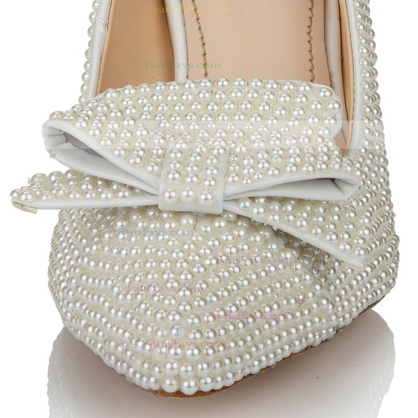 Women's White Patent Leather Pumps with Bowknot/Pearl