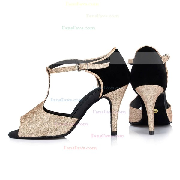 Women's Gold Sparkling Glitter Stiletto Heel Pumps