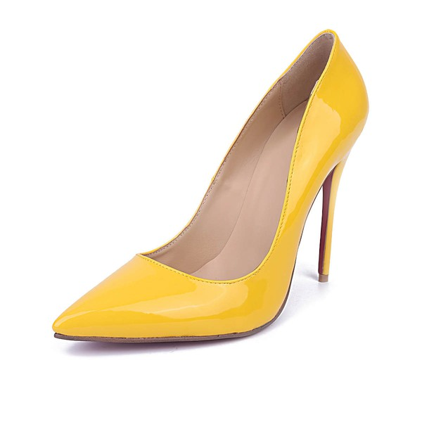 Women's Yellow Patent Leather Stiletto Heel Pumps #Favs03030668