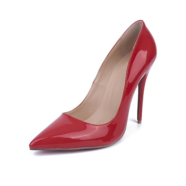 Women's Red Patent Leather Stiletto Heel Pumps #Favs03030672