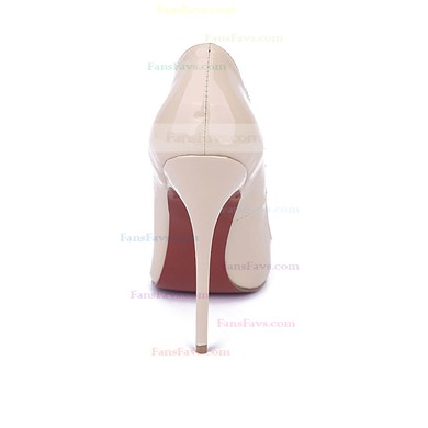 Women's Champagne Patent Leather Stiletto Heel Pumps #Favs03030674