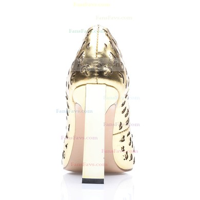 Women's Gold Real Leather Chunky Heel Pumps #Favs03030676