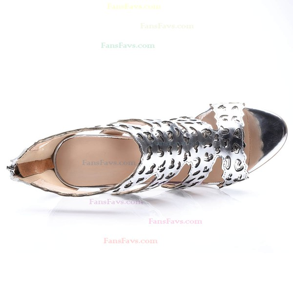 Women's Silver Real Leather Stiletto Heel Pumps