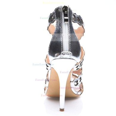 Women's Silver Real Leather Stiletto Heel Pumps #Favs03030683