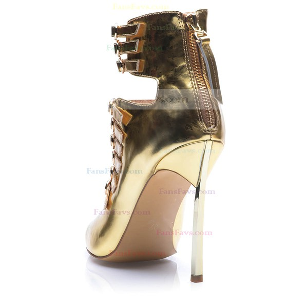 Women's Gold Patent Leather Stiletto Heel Pumps