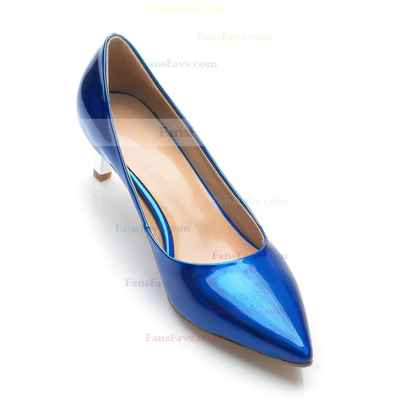 Women's Blue Patent Leather Kitten Heel Pumps