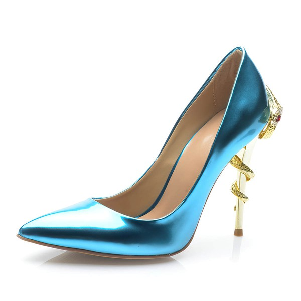 Women's Blue Patent Leather Stiletto Heel Pumps