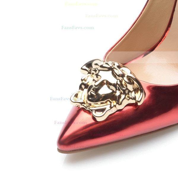 Women's Burgundy Patent Leather Stiletto Heel Pumps