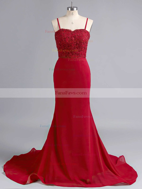 Trumpet/Mermaid Sweetheart Silk-like Satin Sweep Train Appliques Lace Prom Dresses #Favs020102223