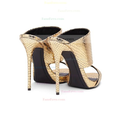 Women's Gold Real Leather Stiletto Heel Sandals #Favs03030732
