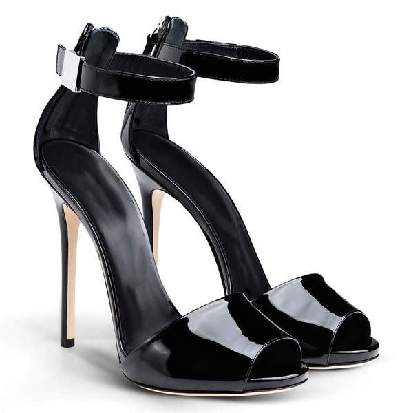 Women's Black Patent Leather Stiletto Heel Sandals