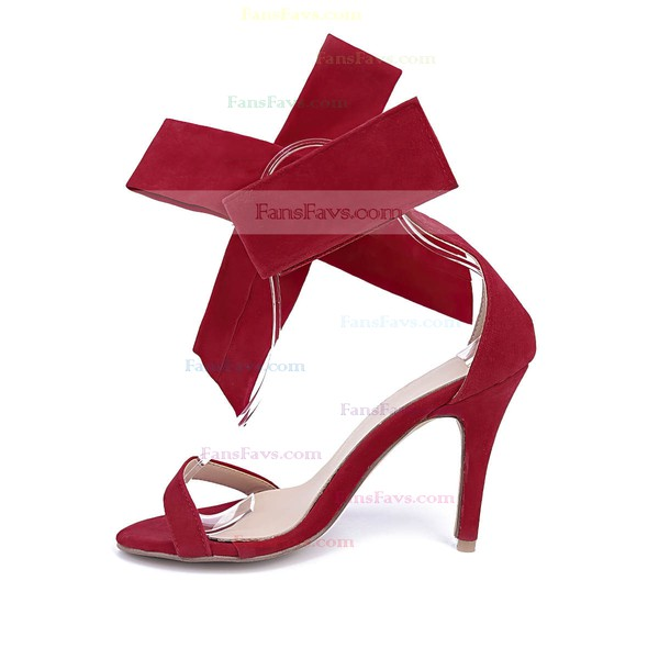 Women's Burgundy Suede Stiletto Heel Sandals