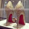 Women's Gold Satin Stiletto Heel Pumps #Favs03030739