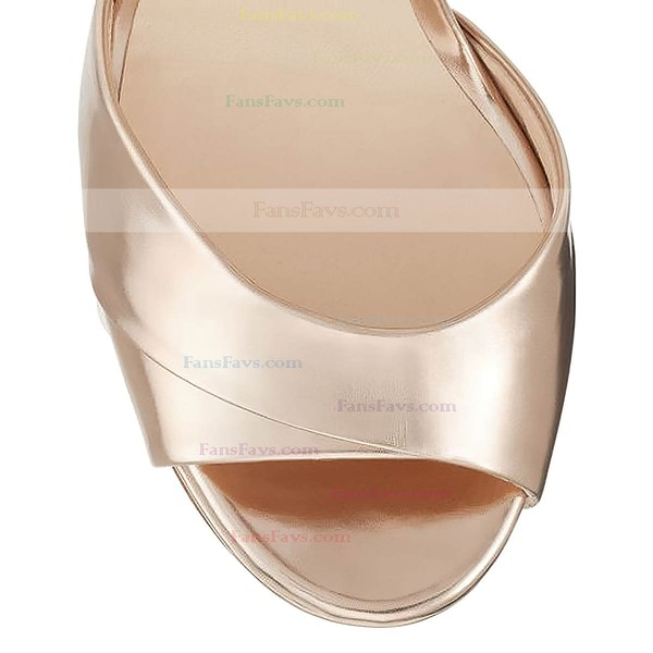 Women's Gold Real Leather Stiletto Heel Pumps