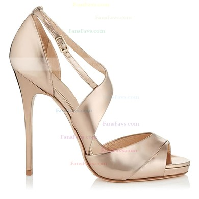 Women's Gold Real Leather Stiletto Heel Pumps #Favs03030794