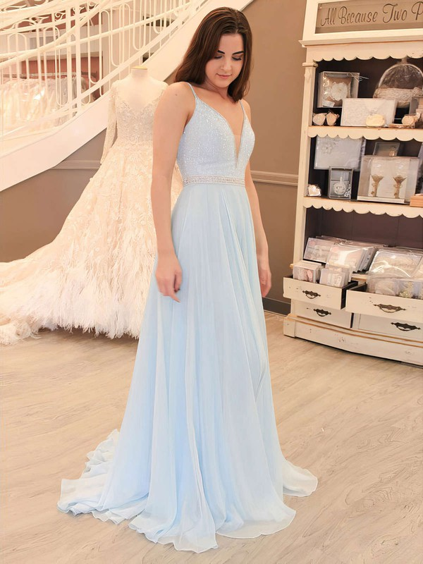 A-line V-neck Chiffon Sweep Train Beading Prom Dresses #Favs020105938