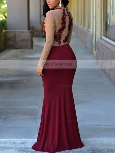 Trumpet/Mermaid Scoop Neck Floor-length Jersey Prom Dresses with Appliques Lace #Favs020105949