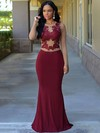 Trumpet/Mermaid Scoop Neck Jersey Floor-length Appliques Lace Prom Dresses #Favs020105949