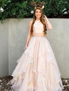 Princess Scoop Neck Organza Floor-length Beading Prom Dresses #Favs020105943