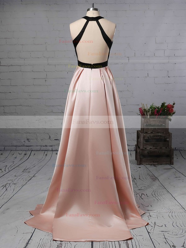 A-line Halter Satin Sweep Train Prom Dresses #Favs020105926