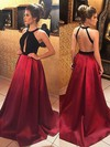 A-line Halter Satin Sweep Train Prom Dresses #Favs020105926