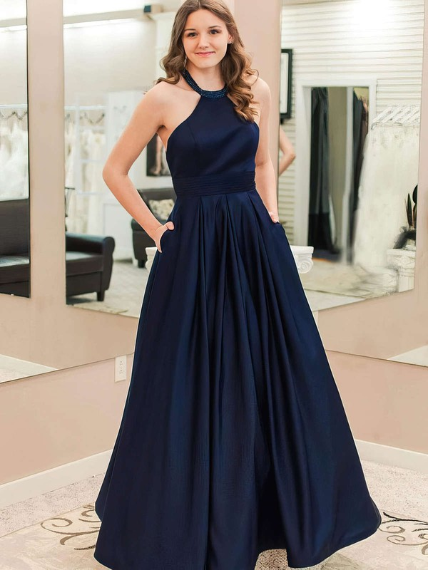 A-line Halter Satin Floor-length Pockets Prom Dresses #Favs020105946