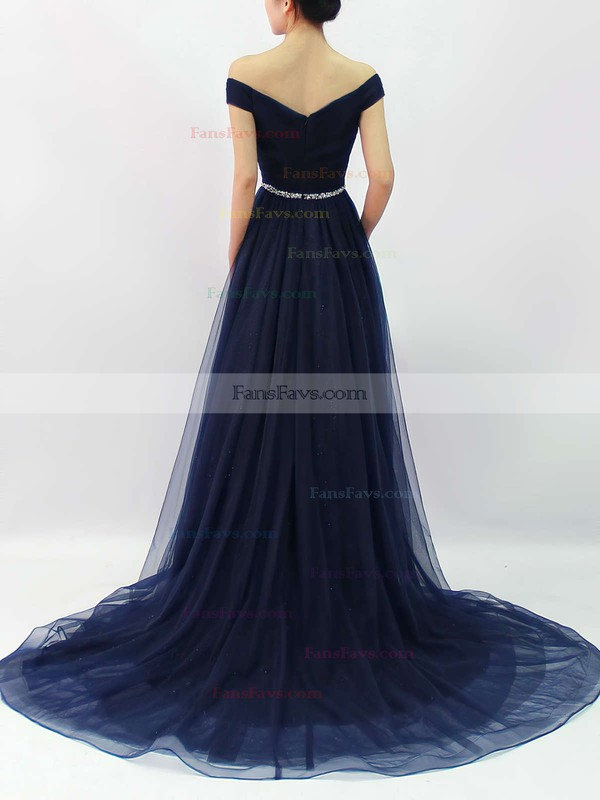 A-line Off-the-shoulder Sweep Train Tulle Sequined Prom Dresses with Beading Ruffle #Favs020102612