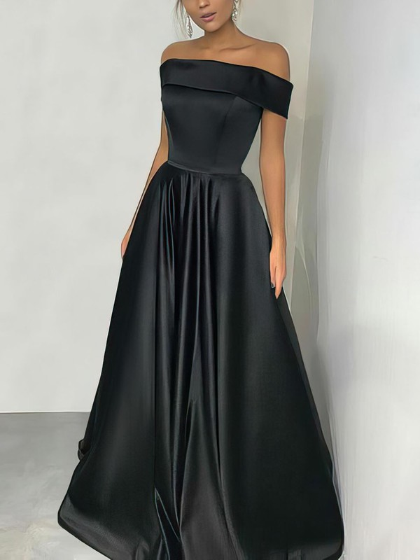 A-line Off-the-shoulder Silk-like Satin Floor-length Prom Dresses #Favs020105934