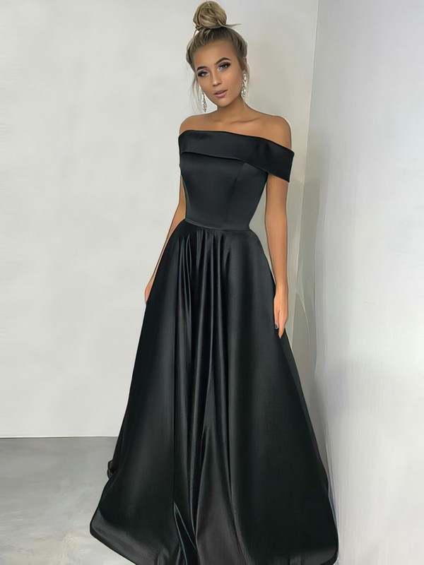 A-line Off-the-shoulder Floor-length Silk-like Satin Prom Dresses #Favs020105934