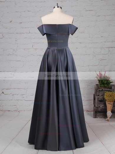 A-line Off-the-shoulder Floor-length Silk-like Satin Prom Dresses #Favs020105934