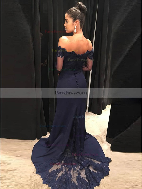 Sheath/Column Off-the-shoulder Silk-like Satin Sweep Train Appliques Lace Prom Dresses #Favs020105935