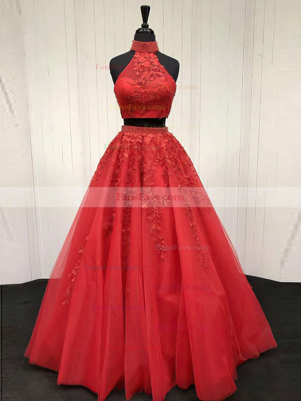A-line Halter Sweep Train Tulle Prom Dresses with Appliques Lace Beading #Favs020105939