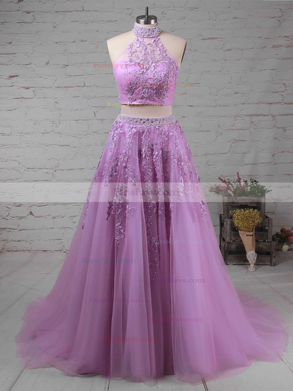 A-line High Neck Tulle Sweep Train Beading Prom Dresses #Favs020105939