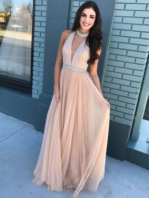 A-line V-neck Floor-length Tulle Prom Dresses with Beading Sashes #Favs020105942