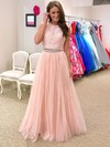A-line Halter Floor-length Tulle Prom Dresses with Appliques Lace Beading #Favs020105947