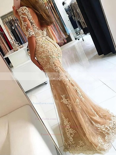 Trumpet/Mermaid Scoop Neck Sweep Train Tulle Prom Dresses with Appliques Lace Sashes #Favs020102800