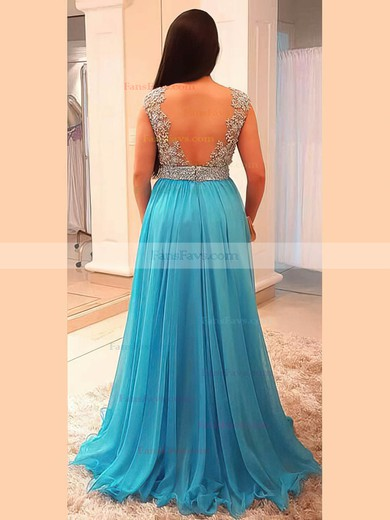 A-line V-neck Floor-length Chiffon Prom Dresses with Beading #Favs020105958