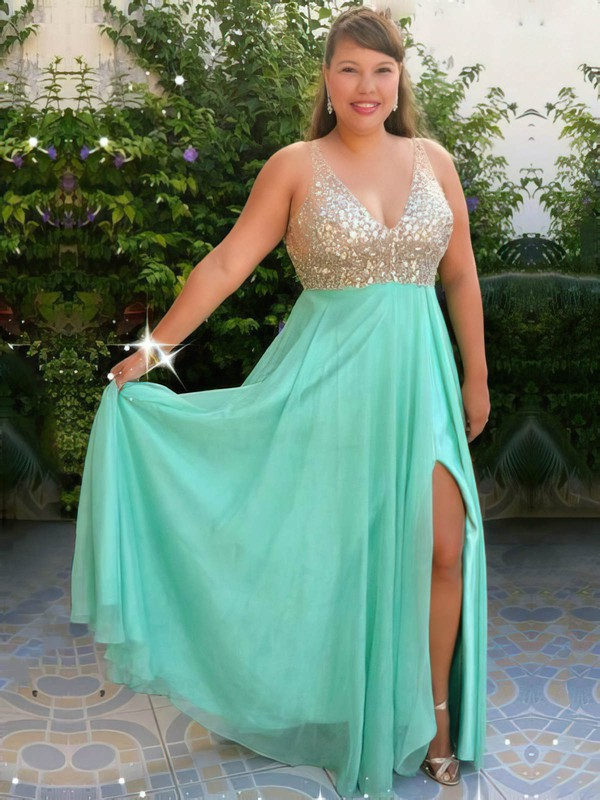 A-line V-neck Chiffon Floor-length Beading prom dress #Favs020105959