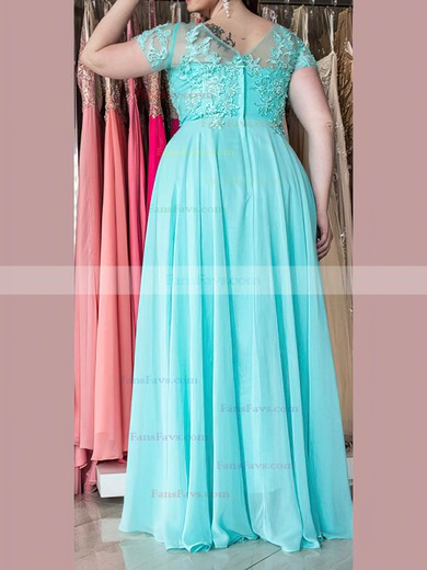 A-line Sweetheart Floor-length Chiffon Prom Dresses with Appliques Lace Ruffle #Favs020105976