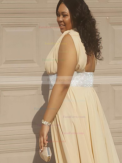 A-line One Shoulder Floor-length Chiffon Prom Dresses with Sashes Ruffle #Favs020105977