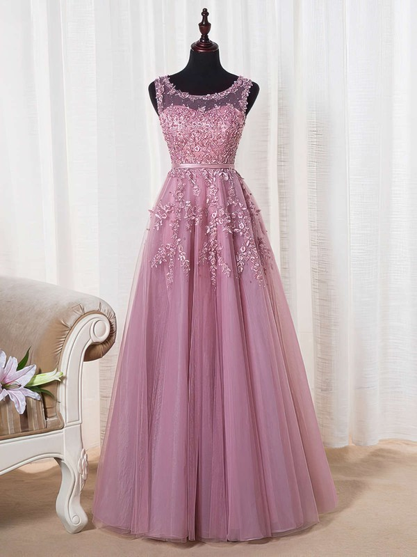 A-line Scoop Neck Floor-length Tulle Prom Dresses with Appliques Lace Sashes #Favs020102804