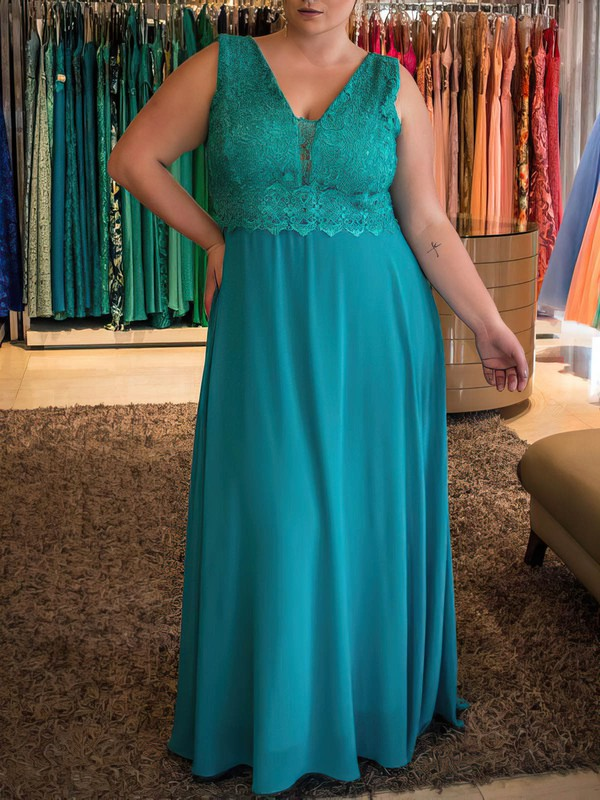 A-line V-neck Floor-length Chiffon Prom Dresses with Lace #Favs020105985