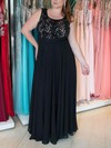 A-line Scoop Neck Chiffon Floor-length Lace prom dress #Favs020105986