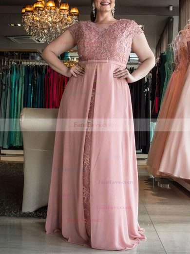 A-line Scoop Neck Floor-length Chiffon Prom Dresses with Lace Split Front #Favs020105987