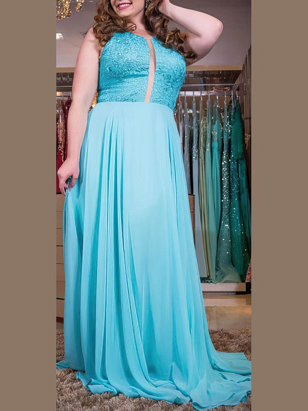 A-line Scoop Neck Sweep Train Chiffon Prom Dresses with Appliques Lace Ruffle #Favs020105988