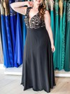 A-line V-neck Chiffon Floor-length Appliques Lace prom dress #Favs020105991