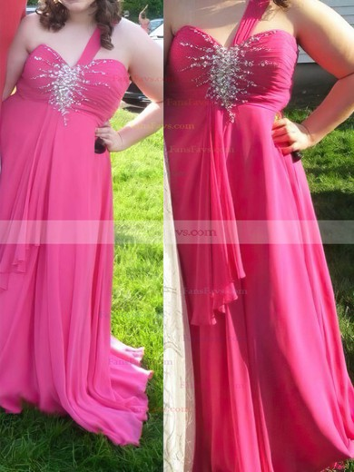 A-line Sweetheart Floor-length Chiffon Prom Dresses with Beading Ruffle #Favs020105996